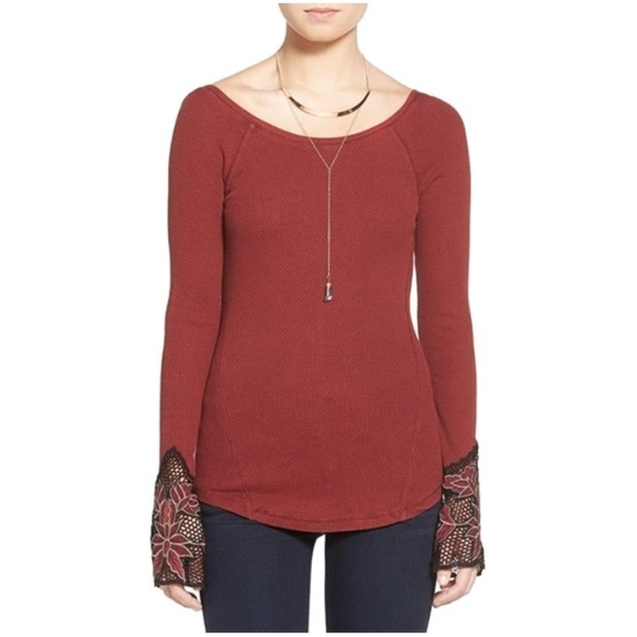 Free People Tops - Free people maroon Bali babe thermal top